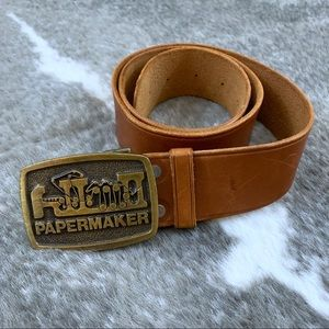 Vintage PaperMaker Buckle and Leather Belt